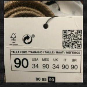 Zara Accessories - Zara Tans Jute Belt Black Square Buckle Size 34